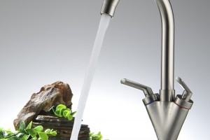 Free-Shipping-Kitchen-faucet-Dual-handle-single-hole-Basin-Water-faucet-Bathroom-mixer-washbasin-taps-BR